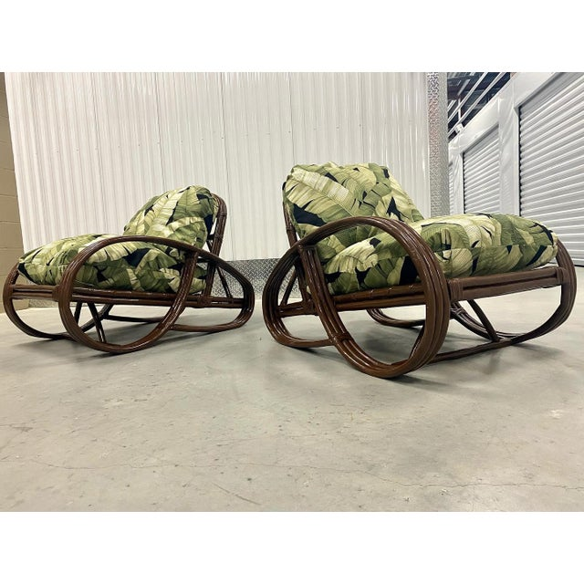 Reupholstered Palm Rattan Pretzel Lounge Chairs For Sale In Tampa - Image 6 of 7