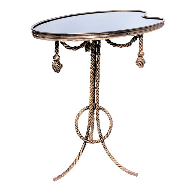 Gilded Rope & Black Glass Side Table For Sale
