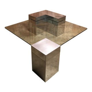 Vintage Chrome and Matte Steel Coffee Table For Sale