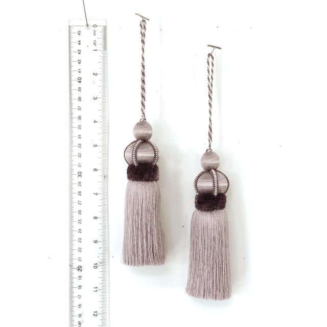 Wood Lavender Key Tassel With Cut Velvet Ruche - a Pair For Sale - Image 7 of 12