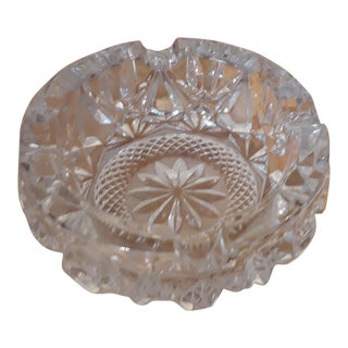 Vintage Heavy Handcut Lead Crystal Ashtray For Sale