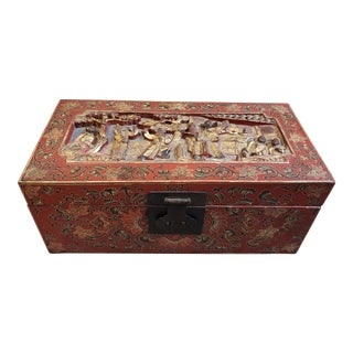 Late 19th Century Chinese Painted Lacquered Wood Carved Imperial Court Motif Chest For Sale