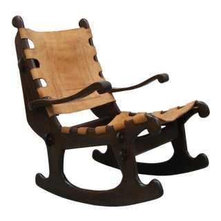 Primitive Style Leather and Wood Rocking Chair Made in Ecuador by Angel Pazmino For Sale
