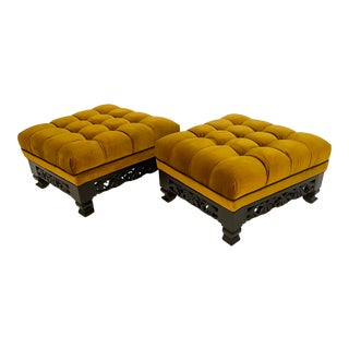 Pair of Carved Wood and Velvet Ottomans For Sale