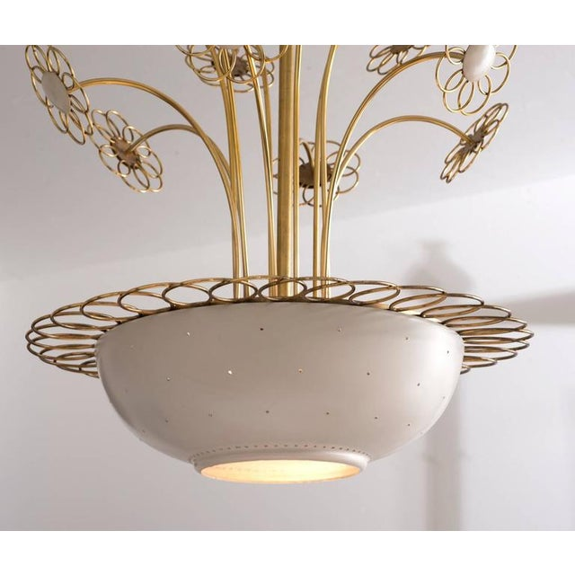 1950s Elegant Floral Chandelier by Paavo Tynell, 1950s For Sale - Image 5 of 9
