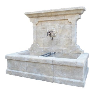 Large French Wall Fountain in Carved Provence Limestone For Sale