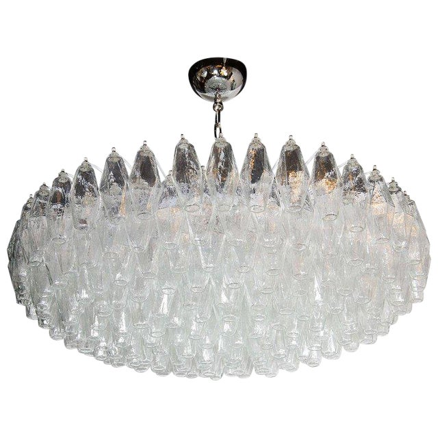 Modernist Handblown Murano Translucent Glass and Chrome Polyhedral Chandelier For Sale