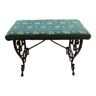Early 20th Century Vintage Wrought Iron Vanity Piano Bench For Sale