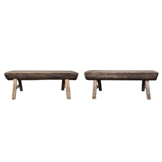Pair of Vintage Rustic Benches Made From Reclaimed Barnwood For Sale