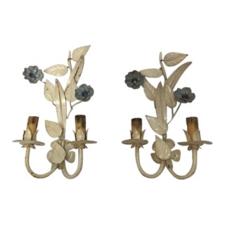 Italian Tole Wall Sconces - a Pair For Sale