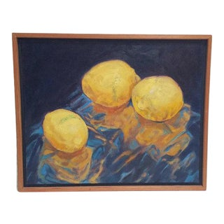 Mid Century Modern Oil on Canvas Lemons Still Life Painting Custom Frame - Original