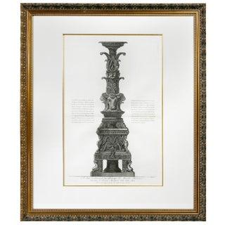 Framed Engraving of a Candelabrum by Francisco Piranesi For Sale