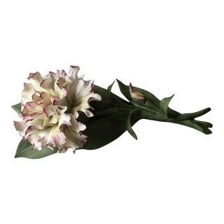 Vintage Capodimonte Hand Made Porcelain Flower, Carnation For Sale
