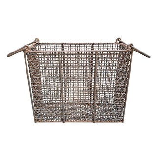 20th Century Rustic Woven Wire Basket For Sale