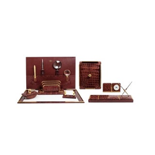 Extensive Mid Century Alligator Desk Set For Sale