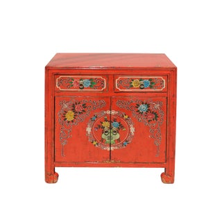 Chinese Distressed Orange Red Flower Graphic Table Cabinet