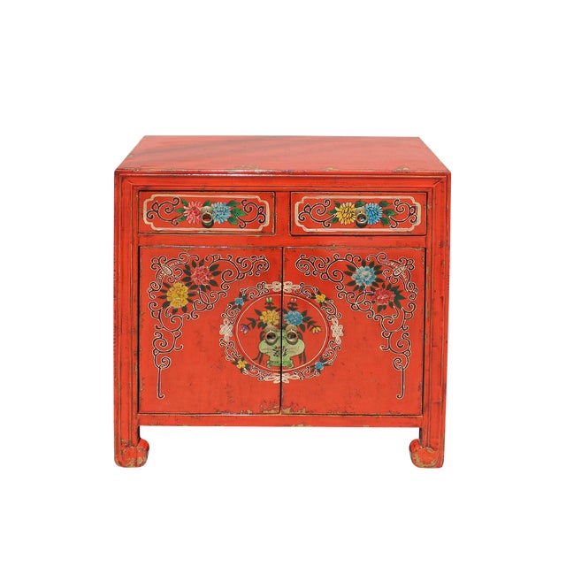 Chinese Distressed Orange Red Flower Graphic Table Cabinet For Sale