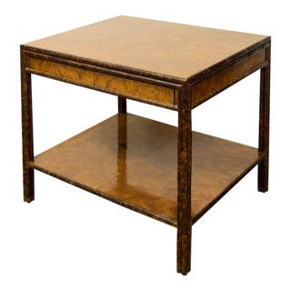 Modern Burled Walnut and Faux Bamboo Two-Drawer Low Table For Sale
