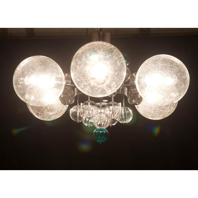 Mid-Century Modern Large Chandelier with Hand Blown Ball Lights by Kamenicky Senov, 1970s For Sale - Image 3 of 11