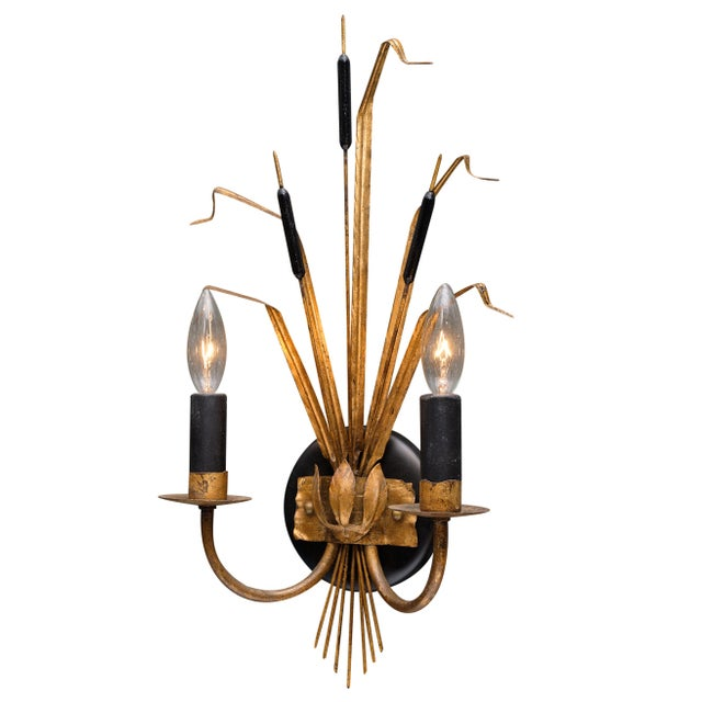 Pair of vintage French sheaf of wheat sconces by Maison Baguès. We love the gilt tole pair with black accents. They have...