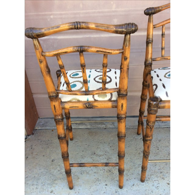 Walters Wicker Carlyle Bamboo Bar Stools - a Pair - Image 6 of 6