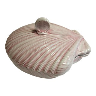 Pink Ceramic Conch Bowl & Lid For Sale