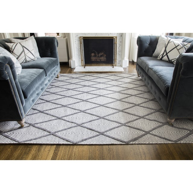 "Erin Gates by Momeni Langdon Spring Charcoal Hand Woven Wool Area Rug - 90"" x 114"" For Sale In Atlanta - Image 6 of 7"