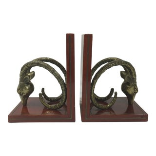 Brass Antelope Ibex Bookends - a Pair For Sale