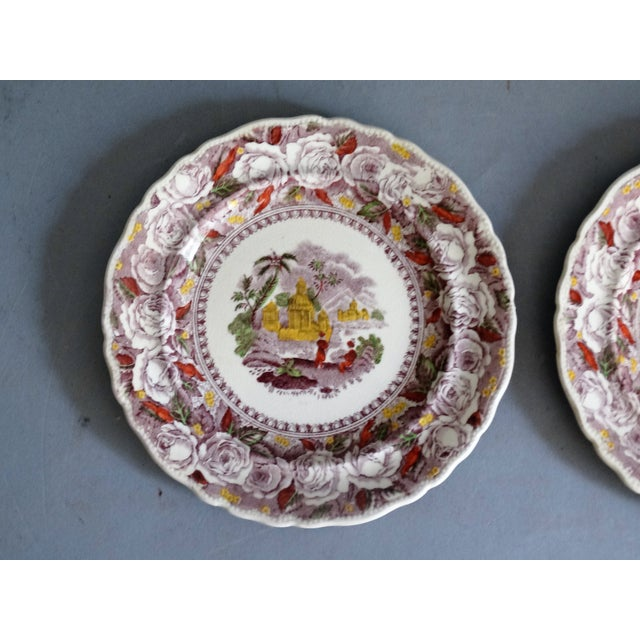 Boho Chic Antique Ridgways 'Oriental' Mulberry Purple Plates, a Pair For Sale - Image 3 of 6