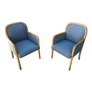 1980s Vintage Sculptural Oak Frame Arm Chairs - a Pair For Sale