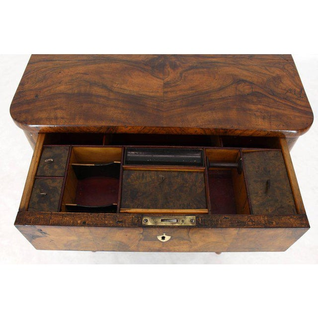 19th Century Biedermeier Burl Walnut One Drawer Sewing Stand Table For Sale - Image 4 of 13