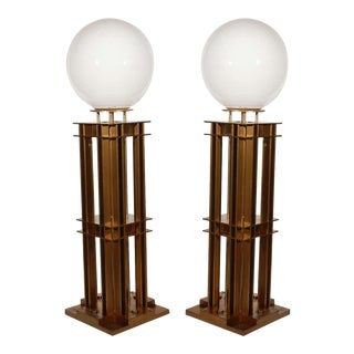 Cast Brass Illuminated Newel Posts - a Pair For Sale