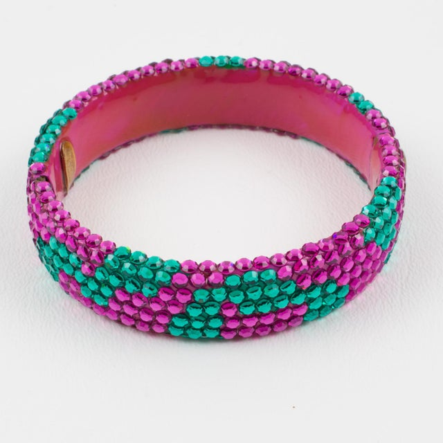American Richard Kerr Pink Turquoise Jeweled Clamper Bracelet For Sale - Image 3 of 8