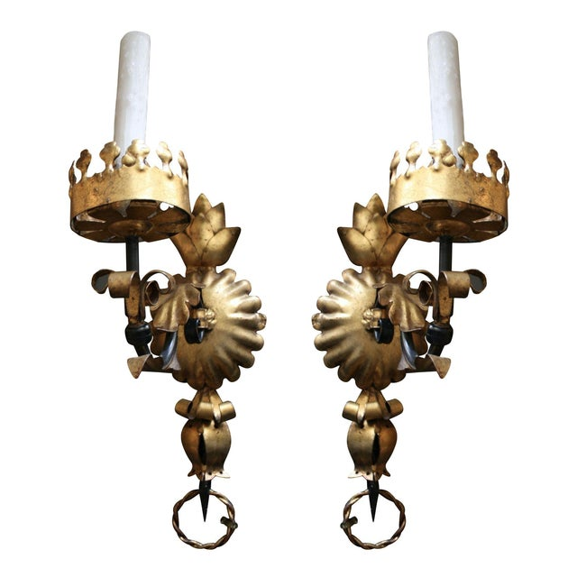 Vintage Hollywood Regency Italian Sconces - A Pair For Sale