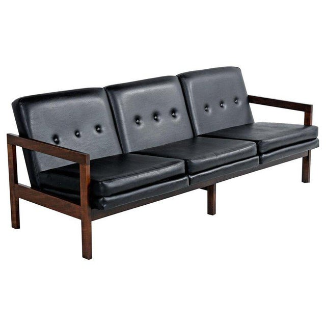 Beechwood Mid-Century Modern Black Leather Sofa Couch With Button Tufted  Backs