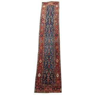 "Antique Persian Heriz Wool Runner Teal and Rust - 13'8""x2'9"""
