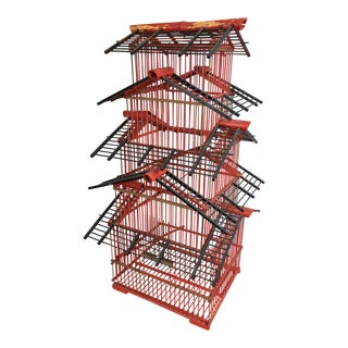 20th Century Chinese Red Bamboo Birdhouse