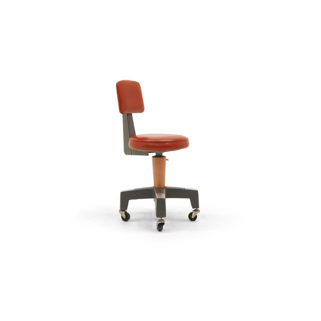 American Industrial Design Swivel Chair on Casters by American Optical Corp Red Orange For Sale - Image 3 of 11