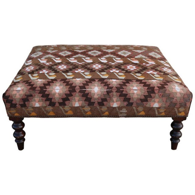 Textile 19th Century Napoleon III France Ottoman with Kilim Rugs Upholstery For Sale - Image 7 of 7