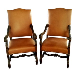 Leather Captains Chairs- A Pair For Sale