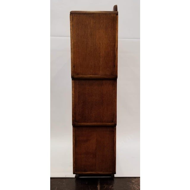 1920s English Art Deco Oak Display Cabinet / Bookcase With Glazed Doors For Sale In San Diego - Image 6 of 12