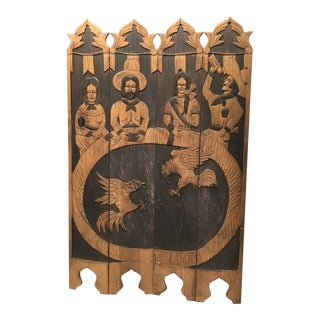 1970s Vintage Wooden Hand-Carved Privacy Screen For Sale