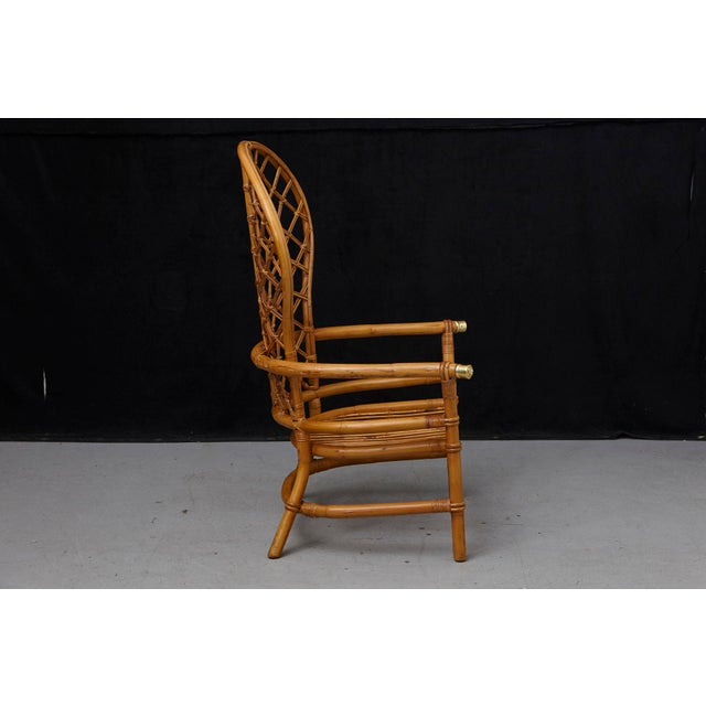 1960s Hollywood Regency High Back Fan Style Rattan Armchair For Sale - Image 5 of 12