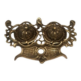 Vintage Rococo Brass Desk Inkwell For Sale