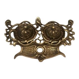 Vintage Rococo Brass Desk Inkwell