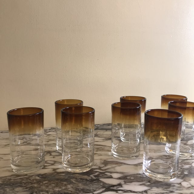 Hand Blown Ombré Glasses - Set of 10 For Sale - Image 4 of 8
