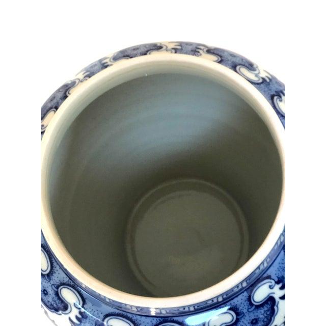 "Blue Blue and White Large Porcelain Ginger Jar With Lid, 16"" Urn For Sale - Image 8 of 12"