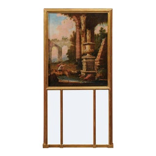 French 1870s Gilded Trumeau Mirror with Painted Scene Inspired by Hubert Robert