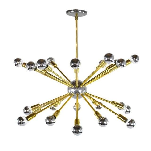 Gold Vintage Chrome and Brass Sputnik Chandelier For Sale - Image 8 of 8