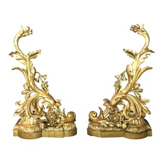 19th Century Bronze Andirons - a Pair